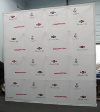10' wide x 10' high Fabric Popup Step and Repeat