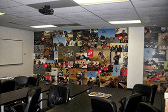 One Industries photo collage wall mural