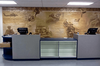 Wall murals have a painted-on look – even on brick!