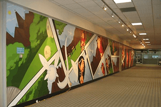 Full length comic strip wall decals for Comic Convention International
