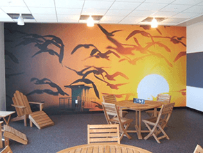 Bring a sunny outllok to a room with custom wall graphics