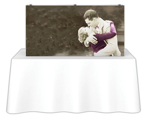 5 ft. x 2.5 ft. Embrace™ Tabletop Push-Fit Tension Fabric Display - Front View