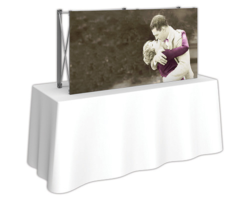 5 ft. x 2.5 ft. Embrace™ Tabletop Push-Fit Tension Fabric Display - Side View