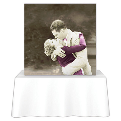 5ft. x 5ft. Embrace™ Tabletop Push-Fit Tension Fabric Display - Front View