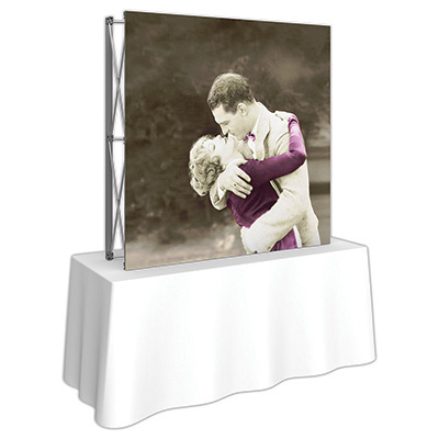5ft. x 5ft. Embrace™ Tabletop Push-Fit Tension Fabric Display - Side View