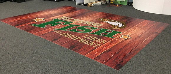 Wood and logo printed on Endutex lightweight flooring. Perfect for events and trade shows.