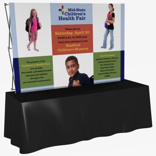 Great Buy 8' Straight (3x2 quad) Dye-Sub Fabric Tabletop Popup Exhibit