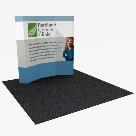 Great Buy 8' Curved (3x3 quad) Dye-Sub Fabric Popup Exhibit with End Panels