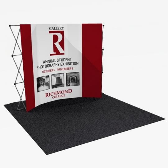 Great Buy 10' Curved (4x3 quad) Dye-Sub Fabric Popup Exhibit