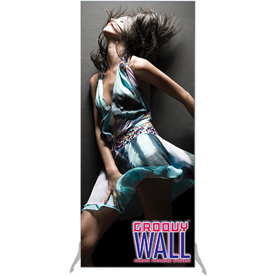 3' x 7' Groovy Wall™ Free-Standing Double-Sided Fabric Frame System