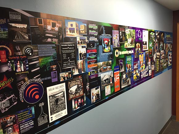 Adhesive timeline wall graphic in the Beautiful Displays office
