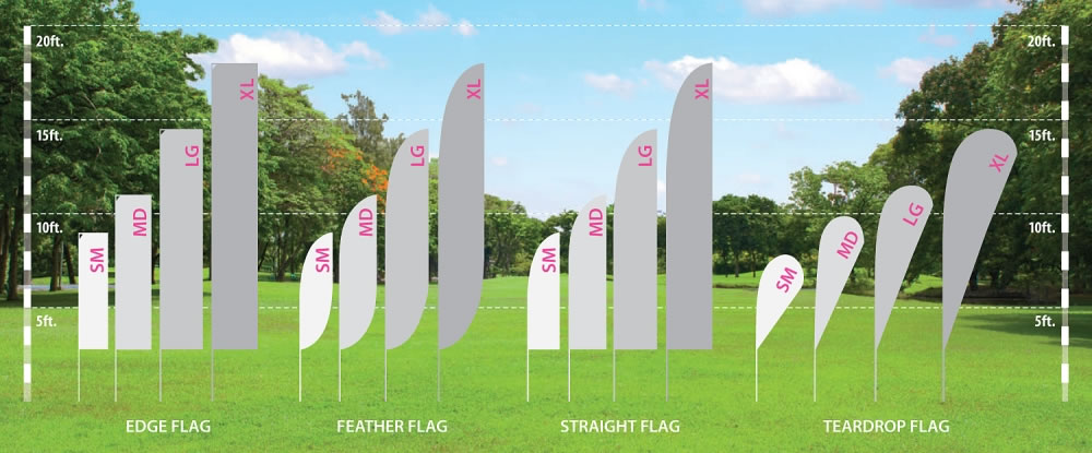 Zoom Outdoor Fabric Flag Comparison Chart
