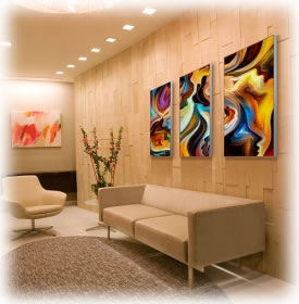Artistic SEG fabric graphic displays in an upscale office lobby.