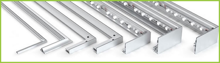 Variety of SEG frame profiles including single sided, double sided and backlit.