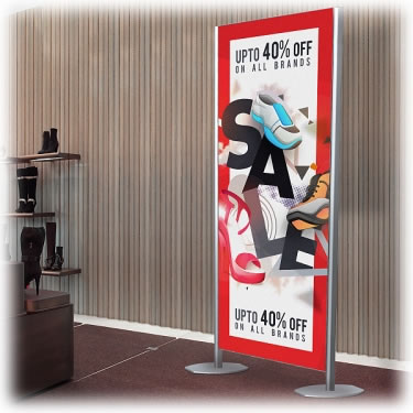 Free-standing SEG frame displaying promotion and sale in retail store.
