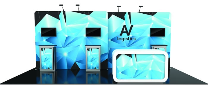 10ft. x 20ft. Display Kit 14 Front View (LCD monitors & foreground counter not included)