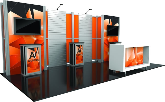 10ft. x 20ft. Display Kit 16 Side View (LCD monitors & foreground counter not included)