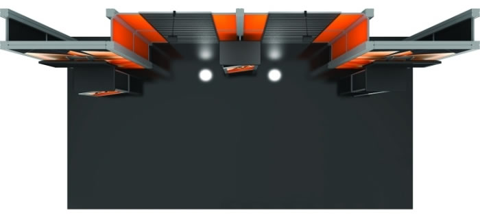 10ft. x 20ft. Display Kit 16 Top View (LCD monitors not included)