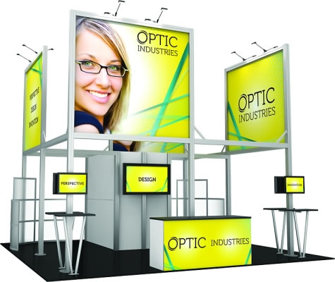 20ft. x 20ft. Display Kit 19 Side View (LCD monitors, flooring & front reception counter not included)