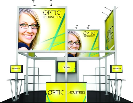 20ft. x 20ft. Display Kit 19 Front View (LCD monitors, flooring & front reception counter not included)
