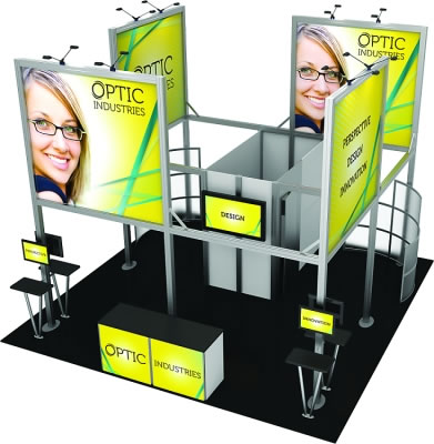 20ft. x 20ft. Display Kit 19 Elevated View (LCD monitors, flooring & front reception counter not included)