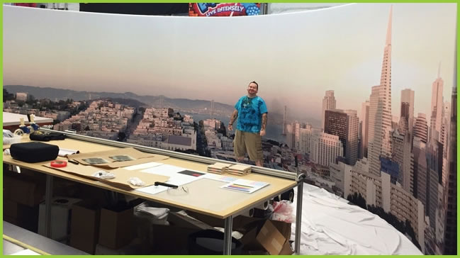 Panoramic Fabric Wall Display of the San Francisco Skyline