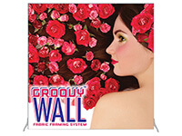 7.5' x 7.5' Floor Standing Groovy Wall™ Single-Sided Fabric Frame System