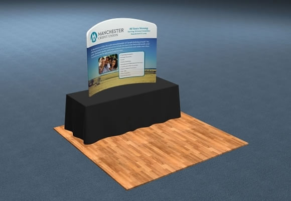 6' Snap-Tube™ Curve Fabric Tabletop Display Wall