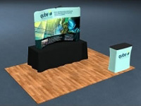 8ft. Snap-Tube™ Curved Tabletop Tension Fabric Display with Lighting and Case/Counter