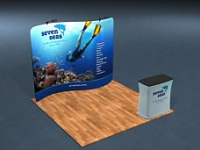 10' Snap-Tube S-Curve Fabric Display Package with LED Lights and Case/Counter