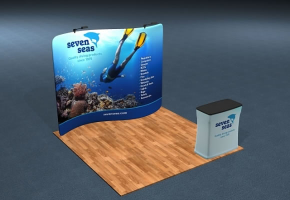10' Snap-Tube™ S-Curve Display with Optional LED Light Fixtures and Case/Counter
