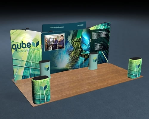 Snap-Tube Layers™ 20' Exhibit Package #2005 (shown with optional curved header)