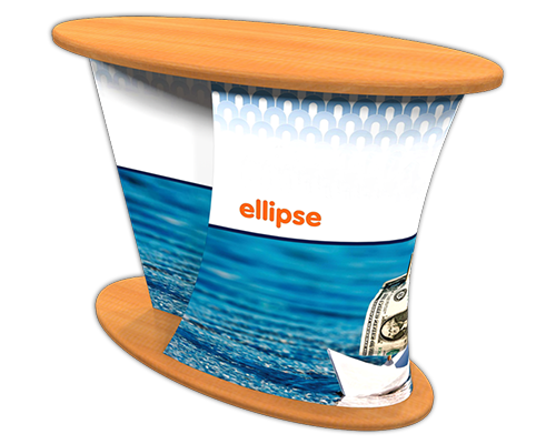 """Ellipse"" Shaped Counter w/ Full Color Dye-Sub Fabric Cover"