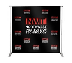 Telescoping Frame with 8' x 8' Step and Repeat Fabric Graphic from BeautifulDisplays.com