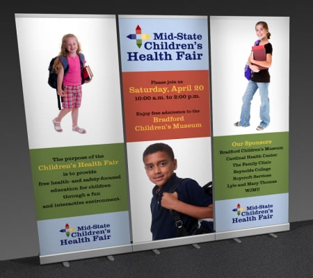 Great Buy Single Sided Economy Banner Stand 3-Pack w/Lay-Flat Blockout Graphics