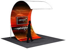 "7'8"" x 11'5"" Wave Video Wall Structure w/ One Sided Dye-Sub Fabric Cover"