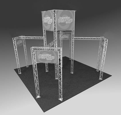 BK1200 Truss Tower Display  (truss hardware & molded shipping crates only - fabric graphics not included)