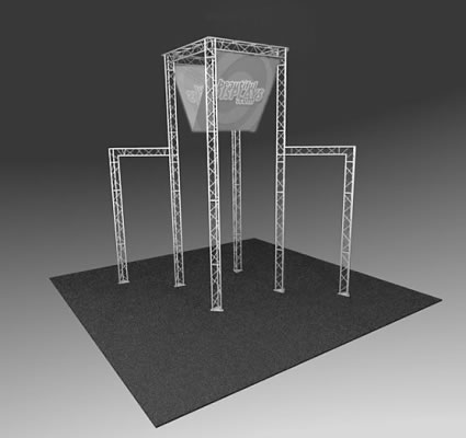 BK3000 Truss Tower Display  (truss hardware & molded shipping crate only - fabric graphics not included)
