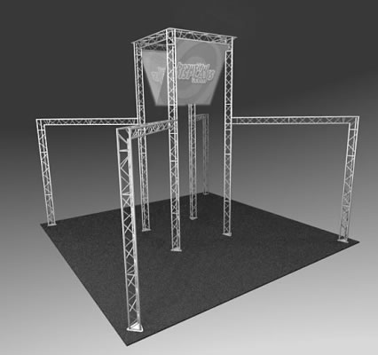 BK3200 Truss Tower Display  (truss hardware & molded shipping crate only - fabric graphics not included)