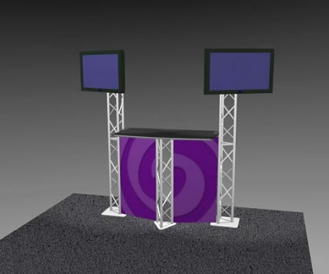 K-2 Truss Kiosk Package with Dye-Sub Fabric Graphics (LCD monitors not included)
