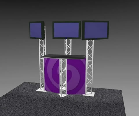 K-3 Truss Kiosk Package with Dye-Sub Fabric Graphics (LCD monitors not included)