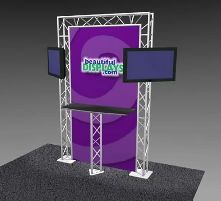 K-4 Truss Kiosk Package with Dye-Sub Fabric Graphics (LCD monitors not included)